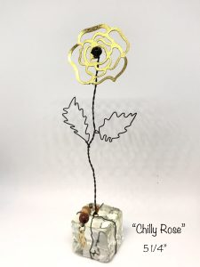 wire flower chilly rose art or whimsey